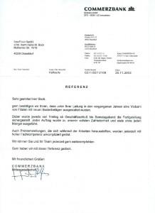 Commerzbank Referenz Schreiben