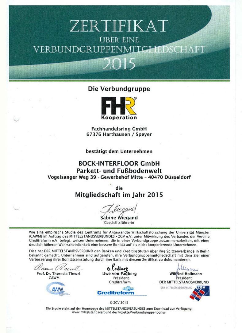 ZERTIFIKAT Fachhandelsring GmbH 2015
